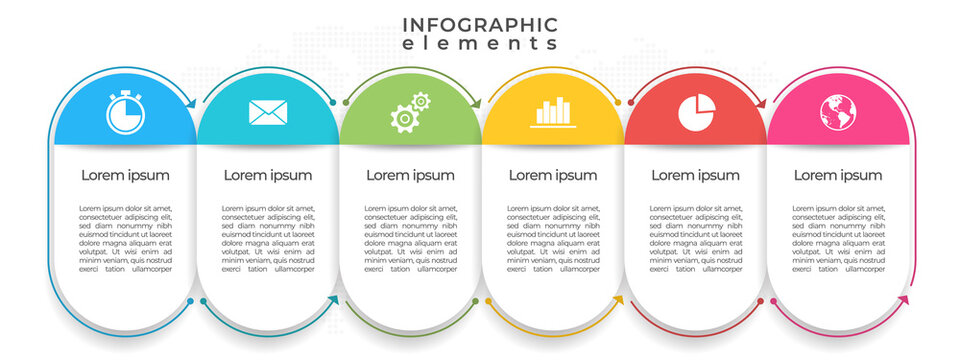 Timeline infographic template 6 options or step, flat design.