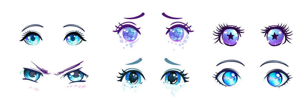 Colorful beautiful eyes in anime, manga style with shiny light reflections. Bright vector illustration isolated. Emotions, expression of sadness. Pastel goth colors. Japanese kawaii cartoon.