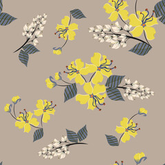 Vector floral seamless pattern. Stylish tropical background with yellow hibiscus flowers, white flowering acacia and blue leaves on beige backdrop. Elegant botanical texture. Repeat decorative design