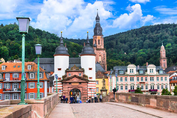 Heidelberg one of the most beautiful medieval cities in Germany . Famous Karl Theodor bridge in historic center. September 2016