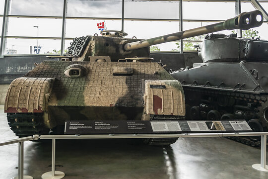 Interior of Canadian War Museum in Ottawa - Canada's national museum of military history. Ottawa, Ontario. Canada. July 26, 2017.
