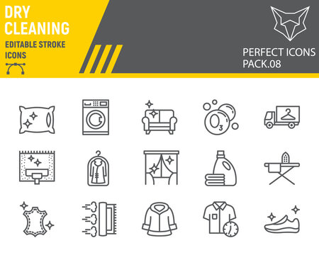 Dry cleaning line icon set, laundry symbols collection, vector sketches, logo illustrations, dry cleaning icons, washing signs linear pictograms, editable stroke.