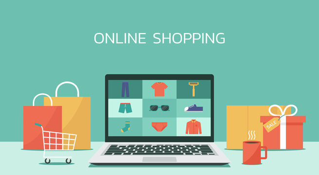 online shopping laptop concept, men fashion products from e-shop or digital store, vector flat graphic illustration