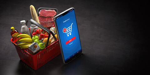 Shopping basket with fresh food and smartphone or mobile. Grocery supermarket, food and eats online buying and delivery concept.