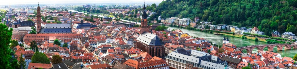 Heidelberg one of the most beautiful medieval cities in Germany . Cityscape panorama