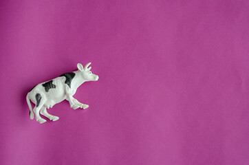 Aluminium Prints Cow Figurine of white cow with black spots on purple background.