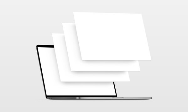 Laptop computer mockup with blank wireframing pages. Concept for showcasing web-design projects. Vector illustration