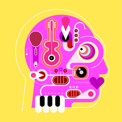 Human head shape design consisting with a different musical instruments vector illustration. Vibrant magenta head silhouette isolated on a yellow background. Crazy music lover.