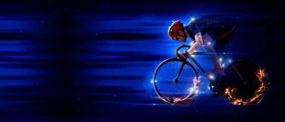 Man racing cyclist on dark background. Sports banner