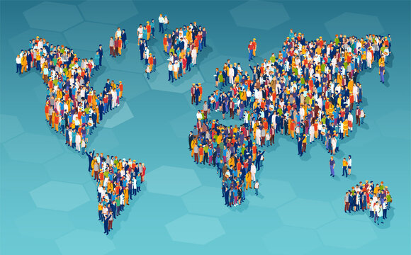 Vector of a large group of diverse people standing on a world map