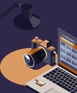 Photo viewer on laptop and digital camera