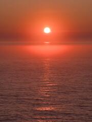 Orange red sunset over the sea