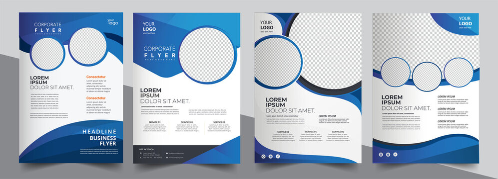 Brochure design, cover modern layout, annual report, poster, flyer in A4 with blue triangles