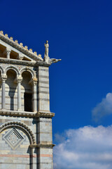 Pisa Cathedral romanesque facade detail, completed in the 12th century (with copy space)