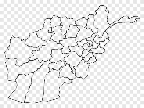 Blank map Afghanistan. High quality map of  Afghanistan on transparent background.  Map of Afghanistan with the provinces for your web site design, logo, app, UI.  EPS10.
