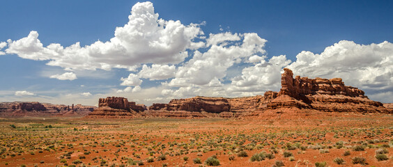 Panorama shot of scenic desert landscape in the Valley of the Gods in Utah, United States
