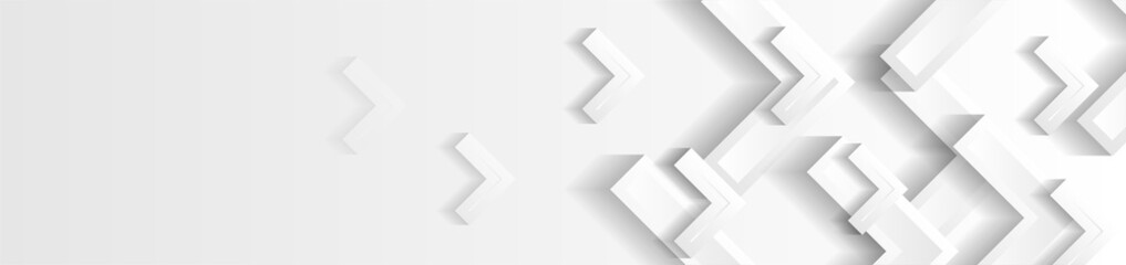 Wall Mural - Technology banner design with white and grey paper arrows. Abstract geometric vector background