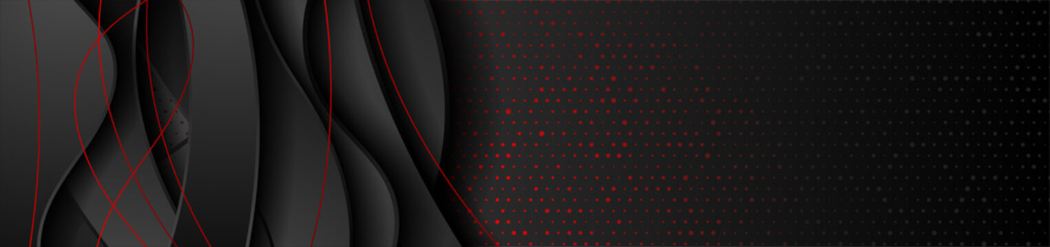 Red and black abstract waves corporate banner design with circles dots. Vector tech background