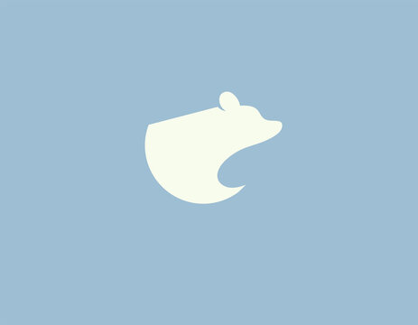 Abstract logo icon silhouette of a polar bear on a blue background