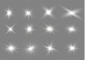 White light stars. Wall mural