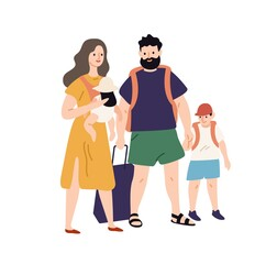 Happy travel family with baggage and hand luggage standing together vector flat illustration. Smiling parents and kids going to summer vacation isolated on white. People ready to touristic adventure