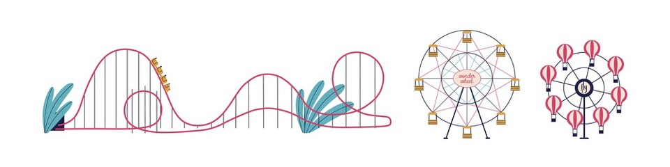 Various attractions of amusement park set vector flat illustration. Colorful ferris wheel, roller coaster balloon wheel isolated on white background. Carousel for recreation and entertainment