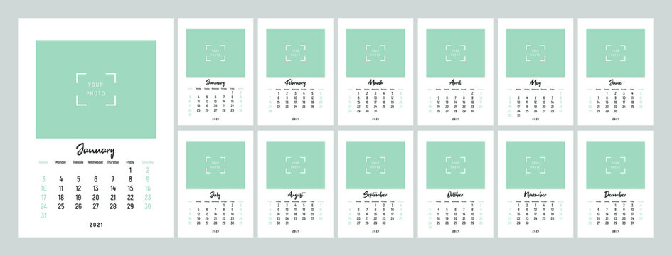Wall calendar template for 2021 year. Set of 12 months. 2021. Week starts on Sunday. Concept, vector editable calender page template. Vertical.