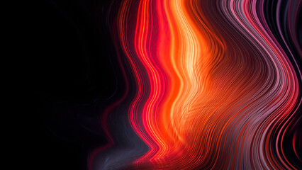 Fotomurales - Dark neon modern background with rays and liquid, flowing reds, fire lines. Light lines, bright accent background. Acrylic liquid. 3d illustration