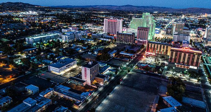 Aerial/Drone photos of Downtown Reno Nevada