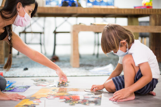Tutoring Child stay at home new normal play learn puzzle