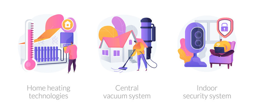 Home technologies abstract concept vector illustration set. Home heating, central vacuum system, indoor security, smart house appliance automation, mobile application, household abstract metaphor.
