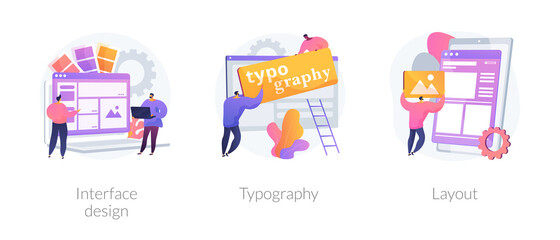 Photo sur Plexiglas Echelle de hauteur UI design abstract concept vector illustration set. Interface design, typography and layout, visual element, website and application, responsive webpage, usability test, browser abstract metaphor.
