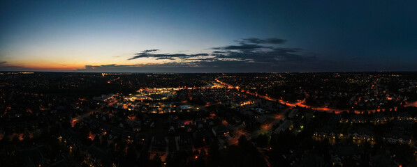 Aerial night panorama over suburbs of midwest city of Lexington, Kentucky