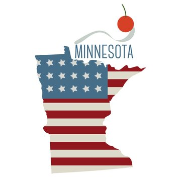minnesota state map with spoon bridge and cherry