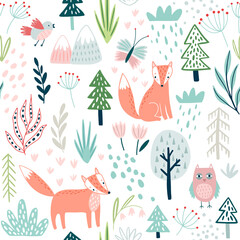 Wall Mural - Seamless Forest pattern with fox, owl, plants, trees and other elements. Cute hand drawn background.