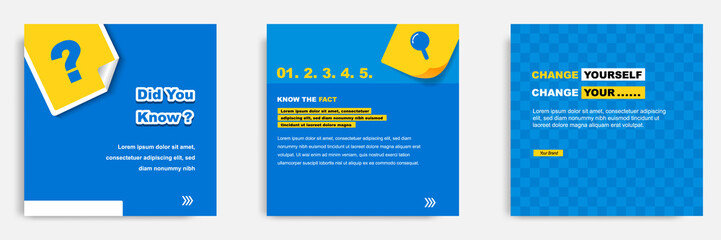 Social media tutorial, tip, trick, quick tips, layout template with geometric background design in blue, white, yellow color. Vector illustration