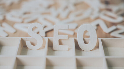 Wooden word SEO, Search Engine Optimization ranking concept
