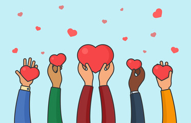 People hands holding hearts. Peace, love and unity concept. Mult-iethnic charity and donation flat vector illustration