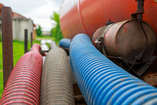 Pipe of a Sewage Pumping Machine. Providing Sewer Cleaning Service Outdoor