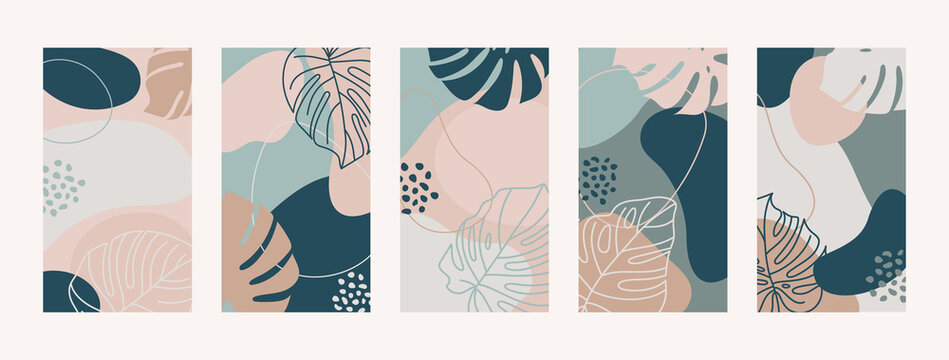 Set Backgrounds With Monstera Leaves and Shapes. Mobile Wallpapers for social media stories. Vector illustration