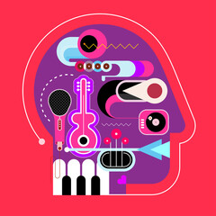 Human head shape design consisting with a different musical instruments vector illustration.Violet silhouette on a red background.