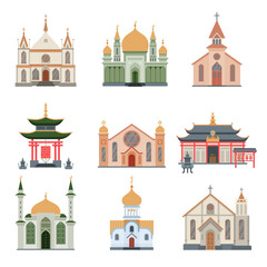 Religious Buildings Collection, Different Churches and Temples Facades, Ancient Architectural Constructions Vector Illustration