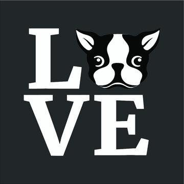 Boston Terrier I Love My Bostie Tee Gift For Dog Lover design vector new