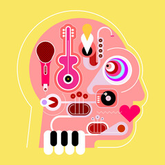 Human head shape design consisting with a different musical instruments vector illustration. Man head silhouette isolated on a yellow background. Crazy music lover.