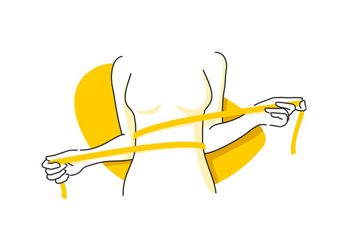 Weight loss concept - woman shape with measuring tape around in drawn sketch thin line decoration - isolated vector illustration