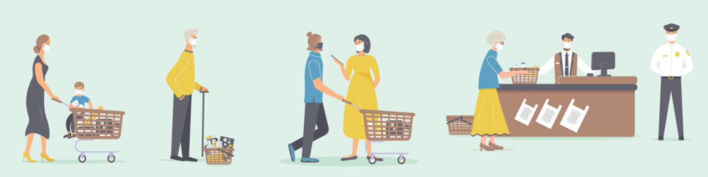 Grocery store during epidemic of virus.Cashier and guard in protective medical masks. Teller serves various customers who are waiting in queue at a social distance in supermarket.Raster illustration