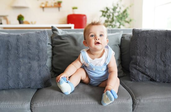 Small child, boy sitting on gray couch in modern living room