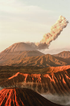 The scenic beauty of the Bromo volcano caldera, in East Java, Indonesia