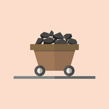 Coal trolley in flat style