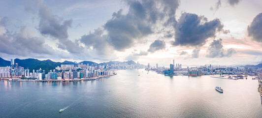 Wall Mural - Panorama view of Victoria Harbour in evening